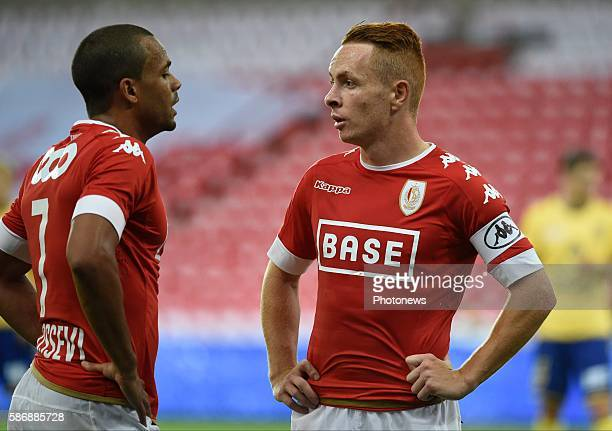 illustration picture of empty stadium Adrien Trebel midfielder of Standard Liege and Matthieu Dossevi midfielder of Standard Liege pictured during...