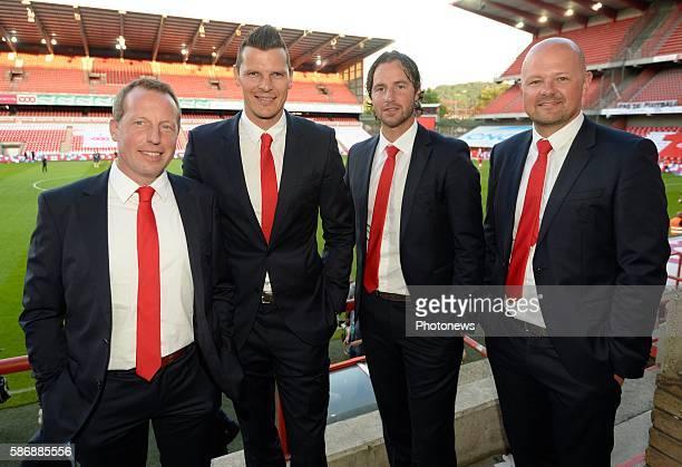 Illustration picture of empty stadium and Daniel Van Buyten with Bruno Venanzi president of Standard Liege and Olivier Renard & Alexandre Grosjean...