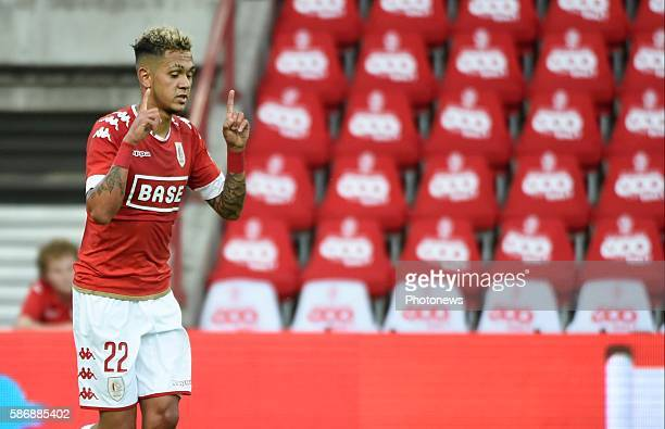 Illustration picture of empty stadium and Junior Edmilson midfielder of Standard Liege celebrates scoring a goal pictured during Jupiler Pro League...