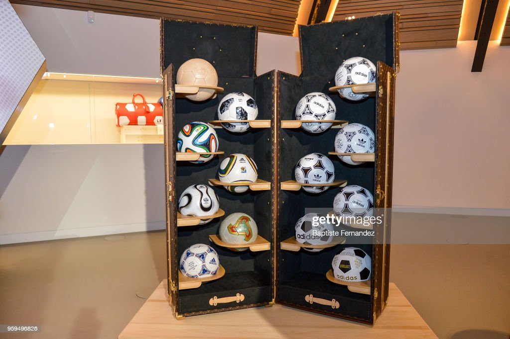 Illustration picture of Louis Vuitton case with all the FIFA World Cup Balls during the Press Conference of Louis Vuitton at Louis Vuitton on May 17, 2018 in Paris, France.