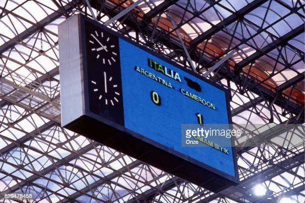 Illustration picture of score board during the opening match of the 1990 World Cup between Cameroon and Argentina at Stade Giuseppe Meazza Milano...