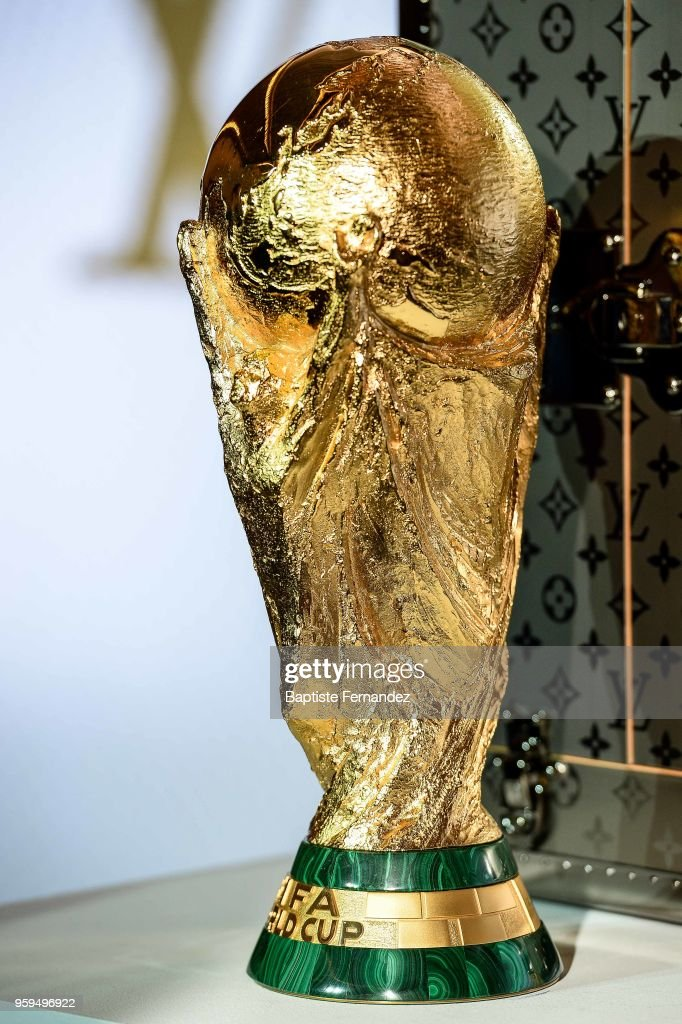 Illustration picture of the FIFA World Cup Trophy during the Press Conference of Louis Vuitton at Louis Vuitton on May 17, 2018 in Paris, France.