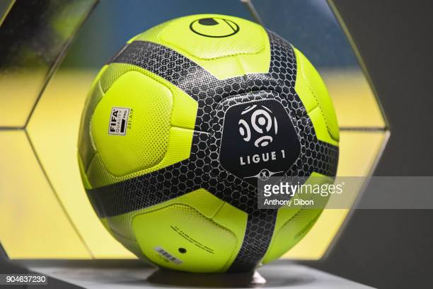 Illustration picture of the official ball of Ligue 1 during the Ligue 1 match between Troyes and Bordeaux on January 13 2018 in Troyes France