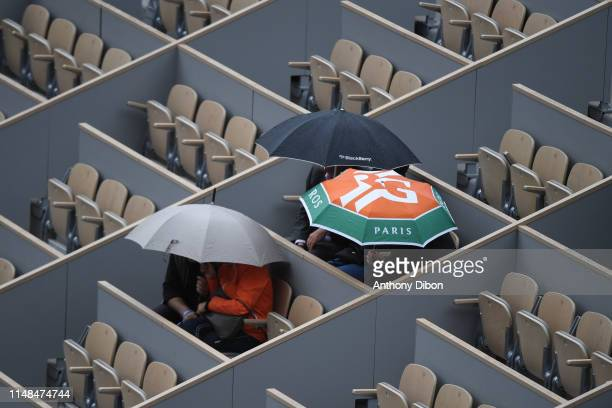 Illustration picture of Umbrella during the Semi Final of Roland Garros on June 7, 2019 in Paris, France.