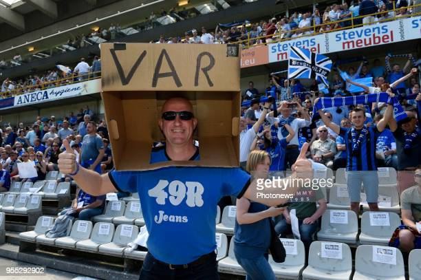 illustration picture of VAR and fans pictured during the Jupiler Pro League play off 1 match between KRC Club Brugge and RSC Anderlecht on May 06...