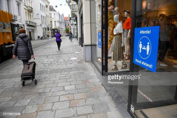 Illustration picture showing reopening of the shops in the city center of Ghent. Measures have been taken to be able to shop safely such as: one-way...