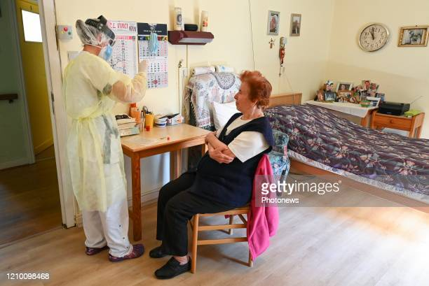Illustration picture showing the daily life in residential care centre where the PCR Covid19 test are used to detect infected seniors At the end of...