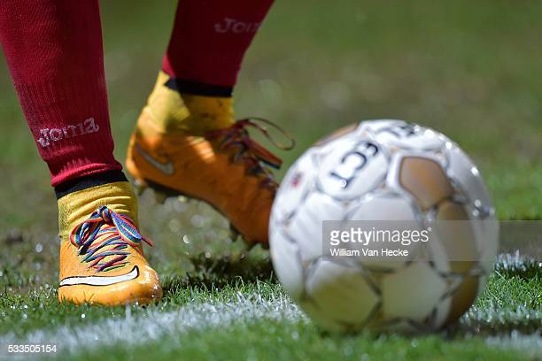 illustration picture showing the rainbow colored laces of Jonathan Wilmet of KV Oostende during the Jupiler Pro League match between KV Oostende and...