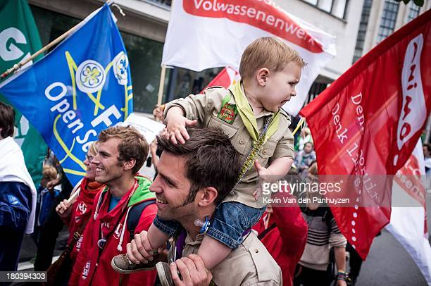 "Illustration picture shows a child carried on the shoulders of a protester. The protest was aimed against ""Municipal Administrative Sanctions"", fines..."