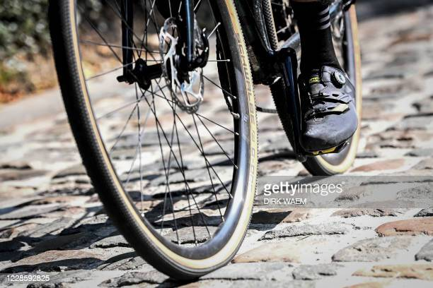 Illustration picture shows a cyclist on cobbles during the inauguration of the track of the road race of next year's world championships cycling in...