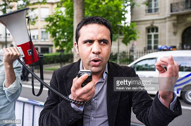 Illustration picture shows a protester speaking to the crowd in front of the embassy of Morocco in Brussels, 10th august 2013. The protest was aimed...