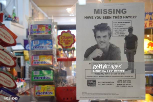 Illustration picture shows a shop window with a 'missing person' poster for missing Theo regarding the disappearance of 18year old Theo Hayez a...