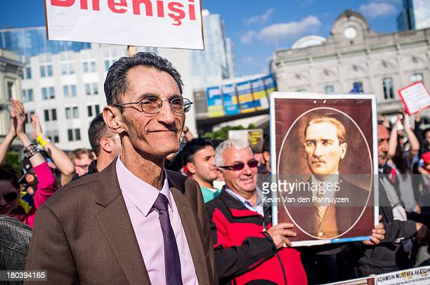 Illustration picture shows a Turkish man at a protest in front of the European parliament in Brussels, to show support for the Occupy Gezi protests...