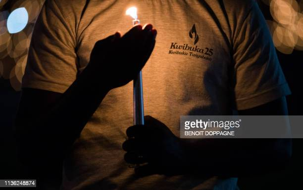 Illustration picture shows a young Rwandese with candle during a vigil service on the 25th anniversary of the Rwandan genocide at the 'Amahoro...
