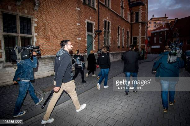 Illustration picture shows Belgian press after a session of the Criminal Court in Mechelen in the trial of television producer Bart De Pauw, accused...