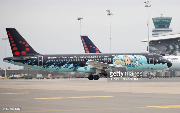 Illustration picture shows Brussels Airlines planes at Brussels Airport after the suspension of more than 2/3 of the flights of Brussels Airlines in...