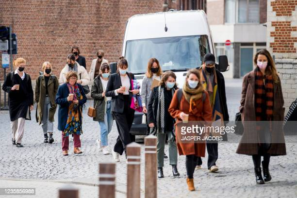 Illustration picture shows civil party arriving at a session of the Criminal Court in Mechelen in the trial of television producer Bart De Pauw,...