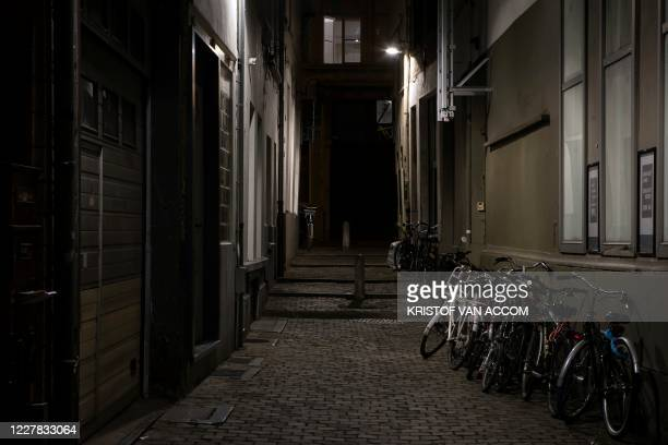 Illustration picture shows empty streets in the city center of Antwerp, where a 23h30 curfew is active since today, Wednesday 29 July 2020. The...