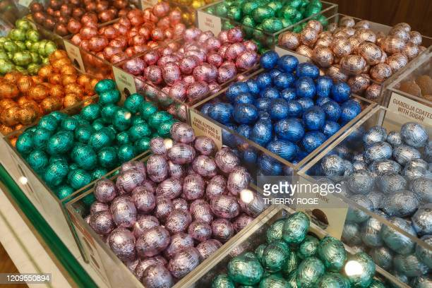 Illustration picture shows Nehaus chocolate eggs in a chocolate store in Brussels, Thursday 09 April 2020. Belgium goes into its fourth week of...
