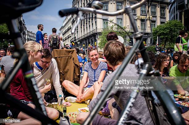 Illustration picture shows people having a pic nic on the street in Brussels, 9th june 2013. A pic nic was held on the street in the center of...