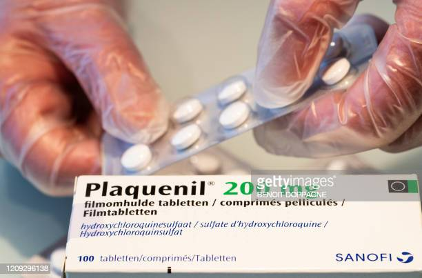 Illustration picture shows Plaquenil tablets in a pharmacy Monday 06 April 2020 Belgium goes into its fourth week of confinement in the ongoing...