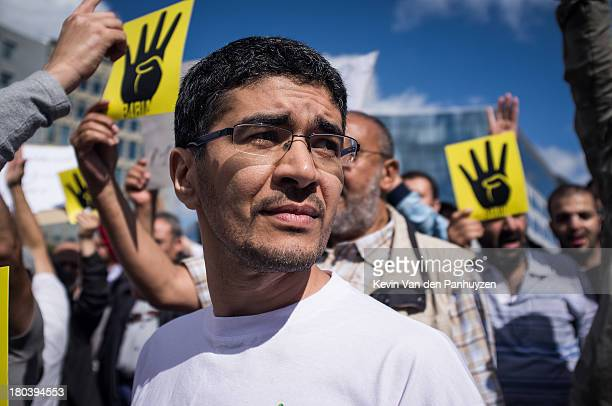 Illustration picture shows pro Morsi protesters in Brussels, 18th august 2013. Hundreds gathered in the center of the European quarter in Brussels to...