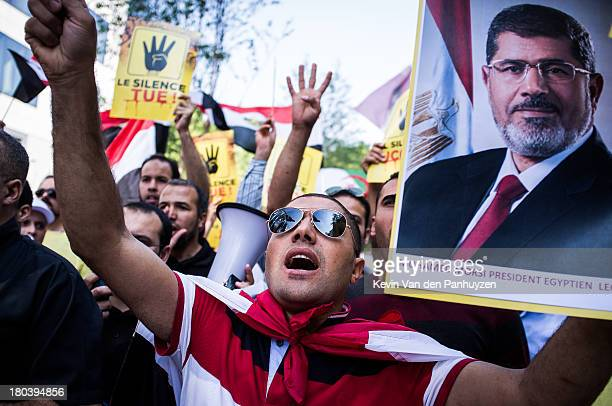 CONTENT] Illustration picture shows pro Morsi protesters in Brussels 23rd august 2013 Hundreds gathered near the European Commission's headquarters...