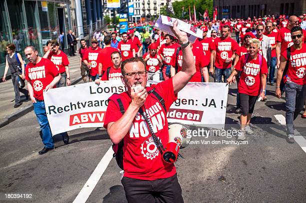 Illustration picture shows protesting unionists in Brussels, 6th june 2013. At least 30.000, according to the police, marched to demand equal...