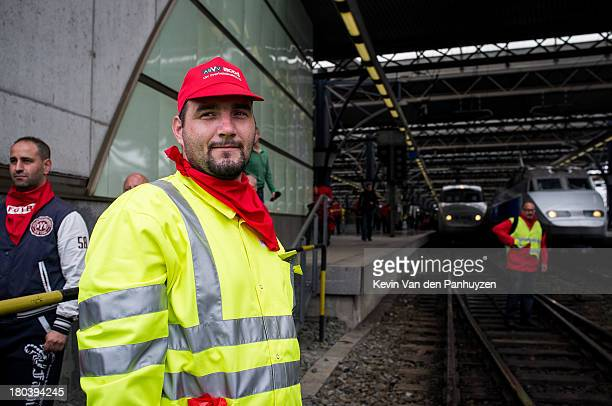 Illustration picture shows railworkers blocking railways in the Brussels South Station, during a national railworkers strike on 27th june 2013. N the...