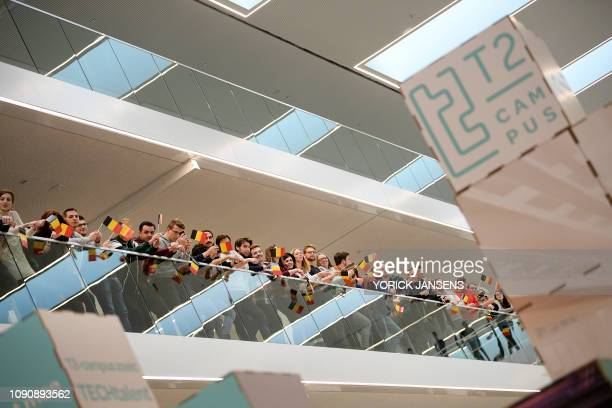Illustration picture shows students during a royal visit to the T2 Technologie en Talent campus in Genk Tuesday 29 January 2019 The T2 campus is a...