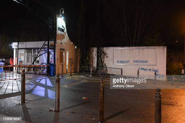 Illustration picture shows the accident at Marseille training center before the Ligue 1 Uber Eats match between Olympique de Marseille and Rennes at...