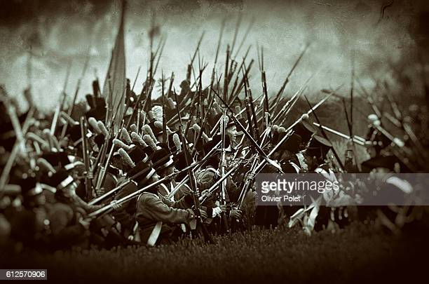 Illustration picture shows the first re-enactment, the French attack, part of the commemoration of the bicentenary of the Battle of Waterloo, Friday...