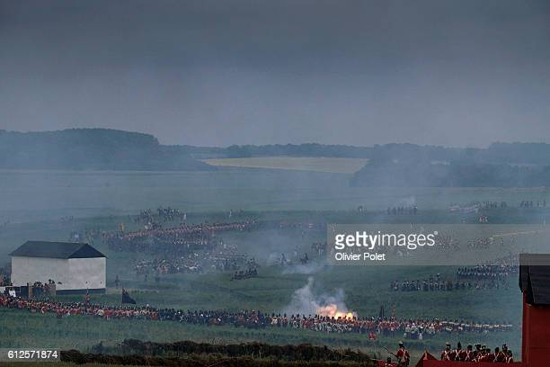 Illustration picture shows the first reenactment the French attack part of the commemoration of the bicentenary of the Battle of Waterloo Friday 19...