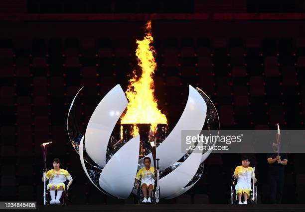 Illustration picture shows the flame at the opening ceremony of the Tokyo 2020 Paralympic Games, Tuesday 24 August 2021, in Tokyo, Japan. The...