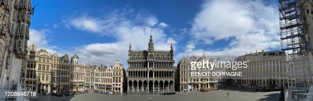Illustration picture shows the Maison Du Roi - Broodhuis on a deserted Brussels Grand Place / Grote Markt square, Monday 30 March 2020. The measures...