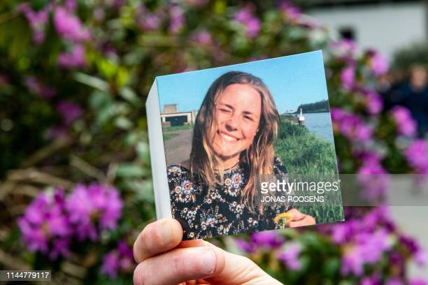 Illustration picture shows the remembrance card after the funeral ceremony for Julie Van Espen, Saturday 18 May 2019 in Schilde. The 23-year-old...