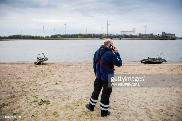 Illustration picture shows the scene in the city center of Antwerp, where two zodiac speed boats crashed into each other on the Scheldt river, Friday...