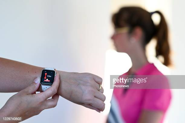 Illustration picture shows the screen of a personal corona virus tracking app installed on a smartphone or a watch. The application traces the...