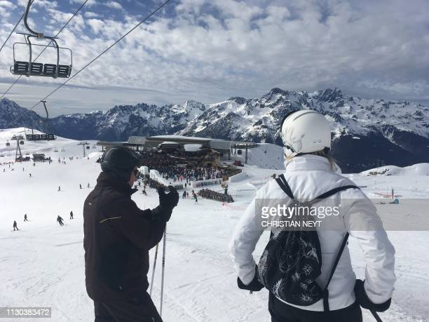 Illustration picture shows the 'Tomorrowland Winter' music festival in the L'Alpe d'Huez territory in France Tuesday 12 March 2019 NEYT
