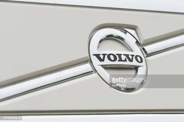 Illustration picture shows the Volvo logo outside the plant in Gent Belgium on April 19 2020 Volvo Cars are restarting production at its Torslanda...