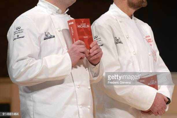 Illustration pictures with the 2018 Michelin Guide during Michelin Award ceremony 2018 at Philharmonie De Paris on February 5 2018 in Paris France...