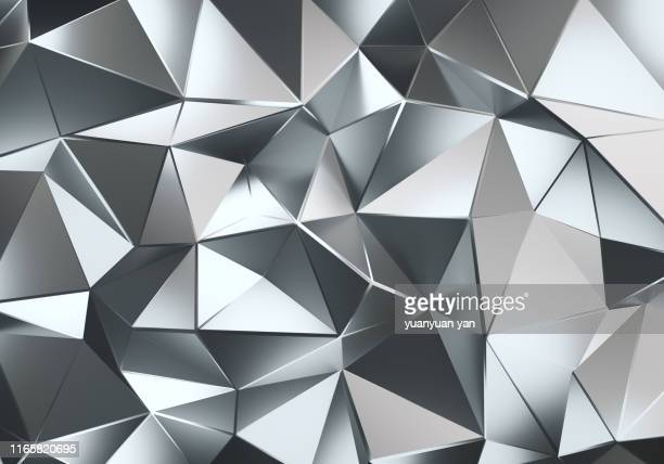 3d illustration polygon background - silberfarbig stock-fotos und bilder