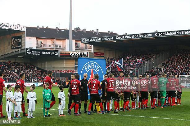 Illustration Protocole during the French Ligue 1 match between Guingamp and Paris Saint Germain at Stade du Roudourou on December 17 2016 in Guingamp...