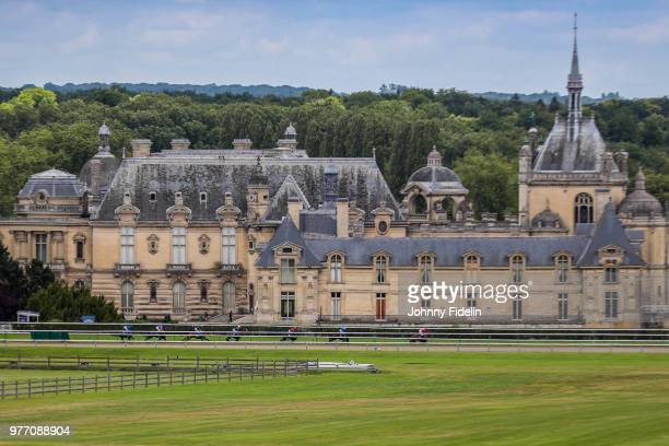Illustration Race with Chantilly Castle during the Grand Prix de Diane 2018 at Hippodrome de Chantilly on June 17 2018 in Chantilly France