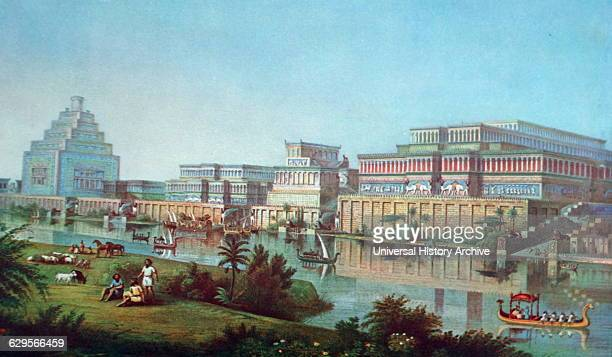 Illustration recreating Nineveh at the height of its' power. Nineveh was an ancient Mesopotamian city located in modern day Iraq; it is on the...