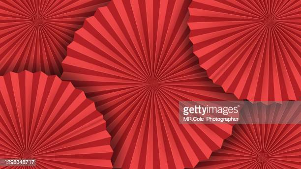illustration red chinese folded fans texture background, celebrate happy chinese new year background concep - chinese new year stock pictures, royalty-free photos & images