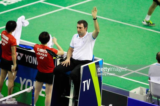 Illustration referee ask a hawkeyes during the Yonex Badminton French Open at Stade Pierre de Coubertin on October 26 2017 in Paris France