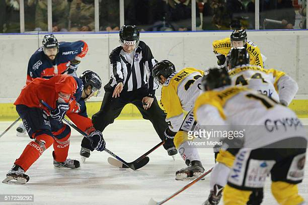 Illustration remise en jeu during the Ice hockey Ligue Magnus Final second game between Les Ducs d'Angers v Les Dragons de Rouen on March 23 2016 in...