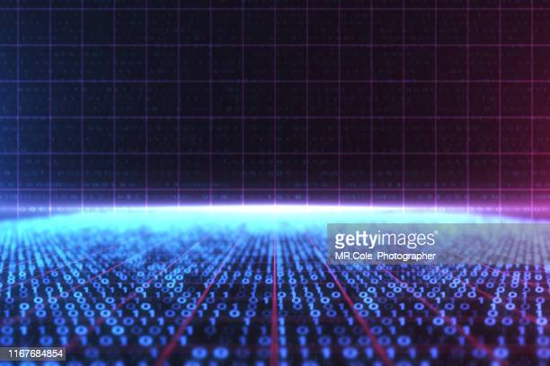 3d illustration rendering of binary code pattern abstract background.futuristic particles for business,science and technology background - gol di pareggio foto e immagini stock