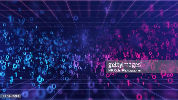 3d illustration rendering of binary code pattern abstract background.futuristic particles for business,science and technology - concepts & topics stock pictures, royalty-free photos & images